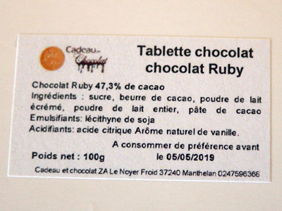 ingredients chocolat ruby